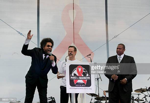 Dr Cornel West Democratic intellectualleft flanked by Michael Weinstein President of AIDS Healthcare Foundation center and Tavis Smiley Broadcaster...