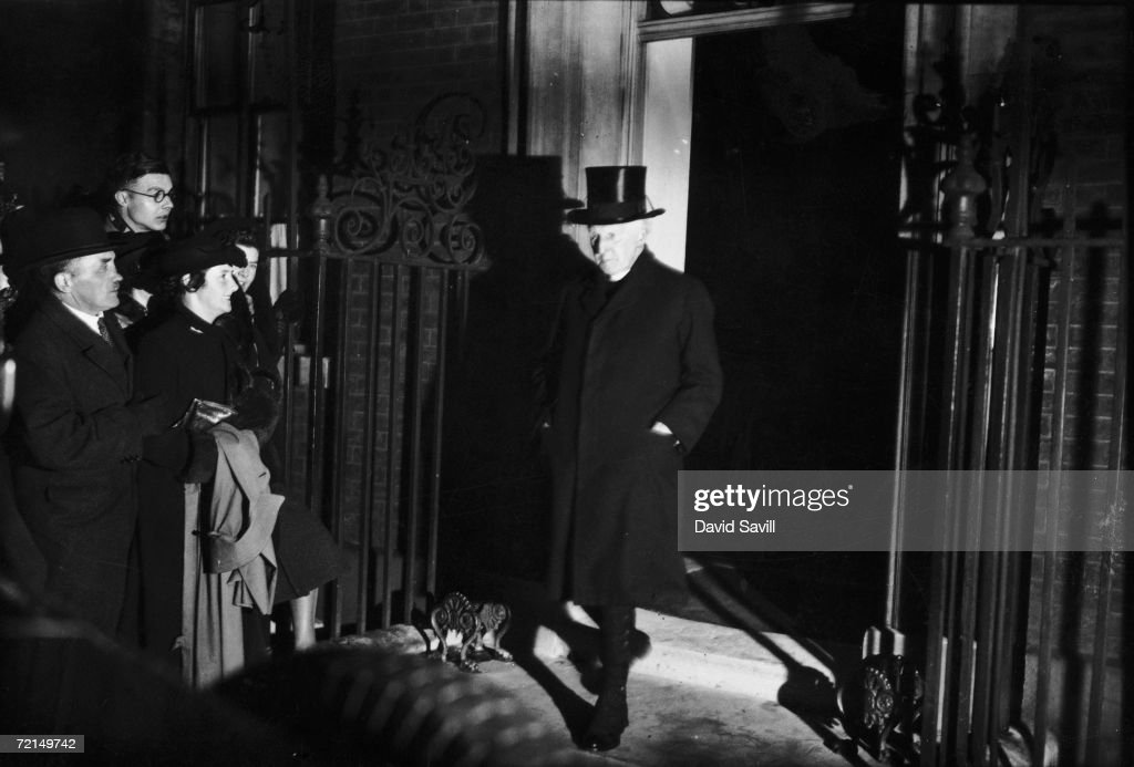 Dr Cosmo Lang the Archbishop of Canterbury leaves Number 10 Downing Street after a meeting with the ministers regarding the abdication of King Edward...