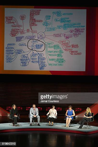 Dr Cynthia Peacock Anthony J Spooner Erin Suzanne Farragher Maria Dellapina and Alex Witt speak onstage at Mother of Invention during Tina Brown's...