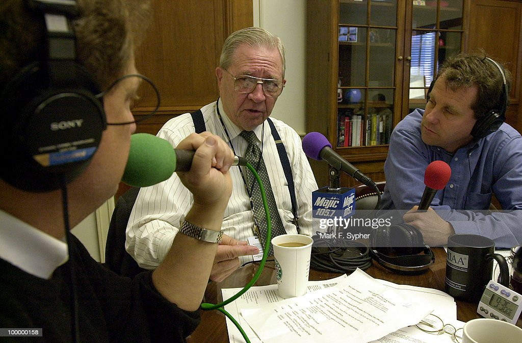 Dr. DA Henderson, center, talks about chemical warfare issues with radio host John Lanigan, left, and Rep. Sherrod Brown (D-FL), right, in Brown's office Tuesday morning.