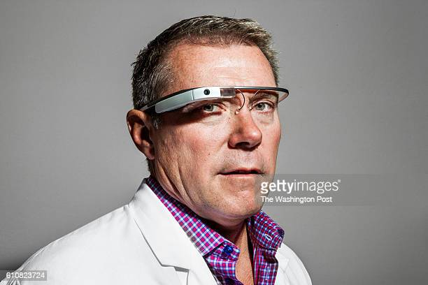 Dr Darren Phelan wears Google Glass in Menlo Park CA on September 9 2016 Dr Phalem uses Google Glass to connect with scribes in India who record all...