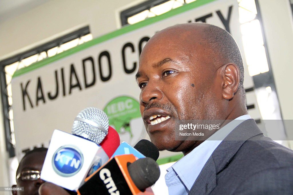 Dr David Ole Nkedianye speaks to the media after he was elected Governor of Kajiado County on March 6, 2013 at the Kajiado County Tallying Center, Kenya. This is the first General Election under the new constitution enacted in 2010.