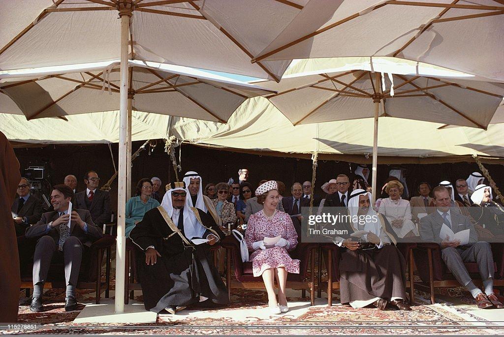 Dr David Owen Jaber III alAhmad alJaber alSabah Emir of Kuwait Queen Elizabeth II Salem Al Ali Al Sabah Kuwaiti Minister of Defence and Prince Philip...