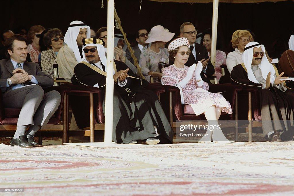 Dr David Owen Jaber III alAhmad alJaber alSabah Emir of Kuwait Queen Elizabeth II and Salem Al Ali Al Sabah Kuwaiti Minister of Defence watching a...