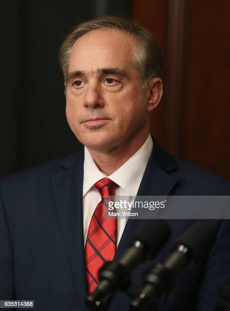 Dr David Shulkin waits to be sworn in by US Vice President Mike Pence as new Veterans Affairs Secretary February 14 2017 in Washington DC Shulkin was...