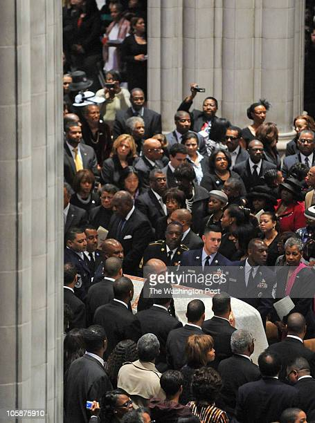 Dr Dorothy Height's casket is carried into the church during funeral services at the National Cathedral on April 2010 in Washington DC