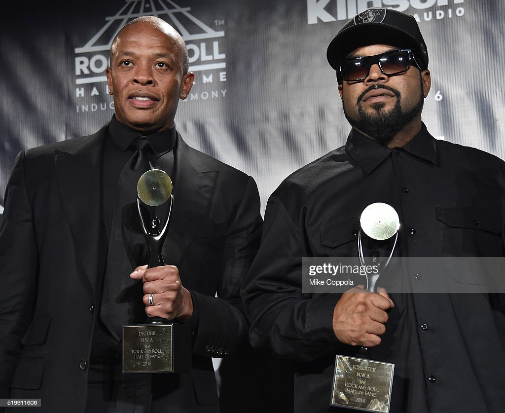 Dr. Dre and Ice Cube of N.W.A attend the 31st Annual Rock And Roll Hall Of Fame Induction Ceremony at Barclays Center on April 8, 2016 in New York City.