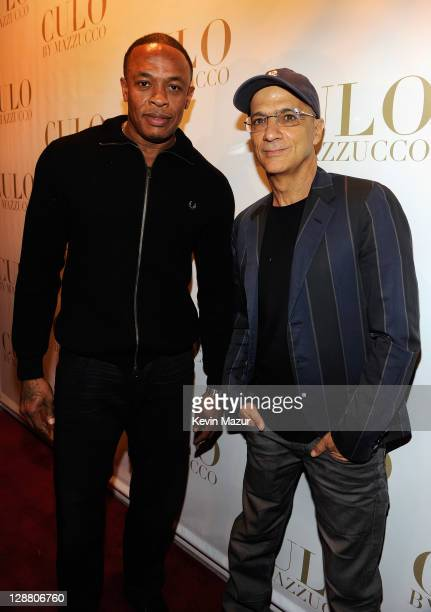 Dr Dre and Interscope Geffen AM Chairman Jimmy Iovine attend CULO by Mazzucco book and art exhibition launch at Tony Shafrazi Gallery on October 9...