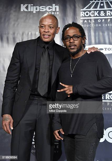 Dr Dre and Kendrick Lamar pose in the press room at the 31st Annual Rock And Roll Hall Of Fame Induction Ceremony at Barclays Center on April 8 2016...