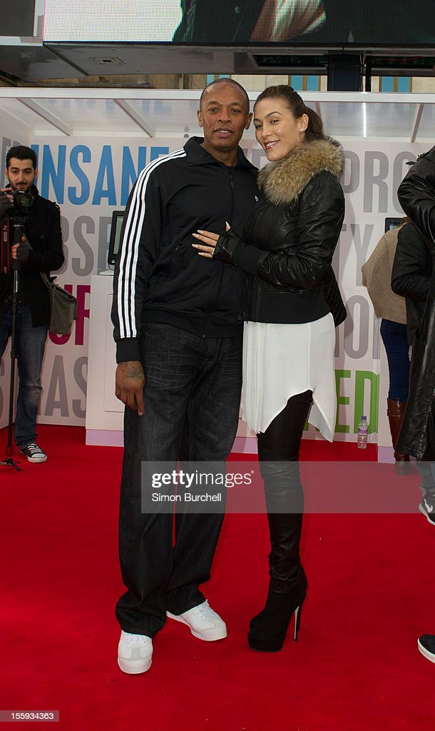Dr Dre and Nicole Threatt attend the Beats By Dr Dre: Show Your Colours photocall at Covent Garden on November 9, 2012 in London, England.