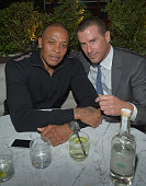 Dr Dre and partner of Innovative Dining Group Lee Maen attend the Grand Opening of RivaBella Ristorante on January 31 2013 in West Hollywood...