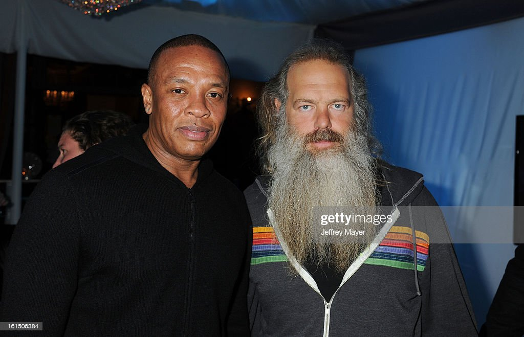 Dr. Dre and Rick Rubin attend the Universal Music Group Chairman & CEO Lucian Grainge's annual Grammy Awards viewing party on February 10, 2013 in Brentwood, California.