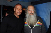 Dr Dre and Rick Rubin attend the Universal Music Group Chairman CEO Lucian Grainge's annual Grammy Awards viewing party on February 10 2013 in...
