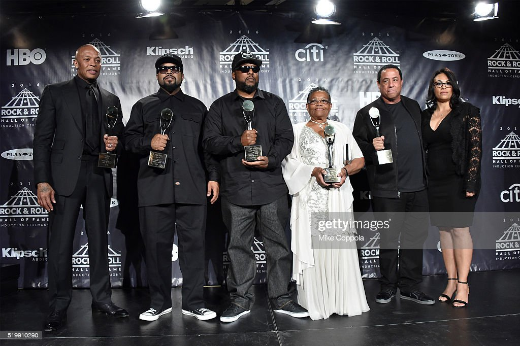 Dr. Dre, Ice Cube, MC Ren and DJ Yella of N.W.A. pose with Eazy-E's mother, Katie Wright and Tomica Woods-Wright , at the 31st Annual Rock And Roll Hall Of Fame Induction Ceremony at Barclays Center on April 8, 2016 in New York City.