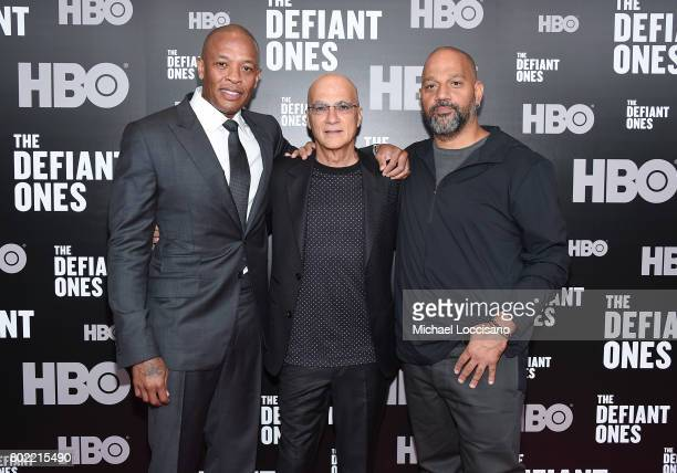 Dr Dre Jimmy Iovine and Allen Hughes attend 'The Defiant Ones' premiere at Time Warner Center on June 27 2017 in New York City