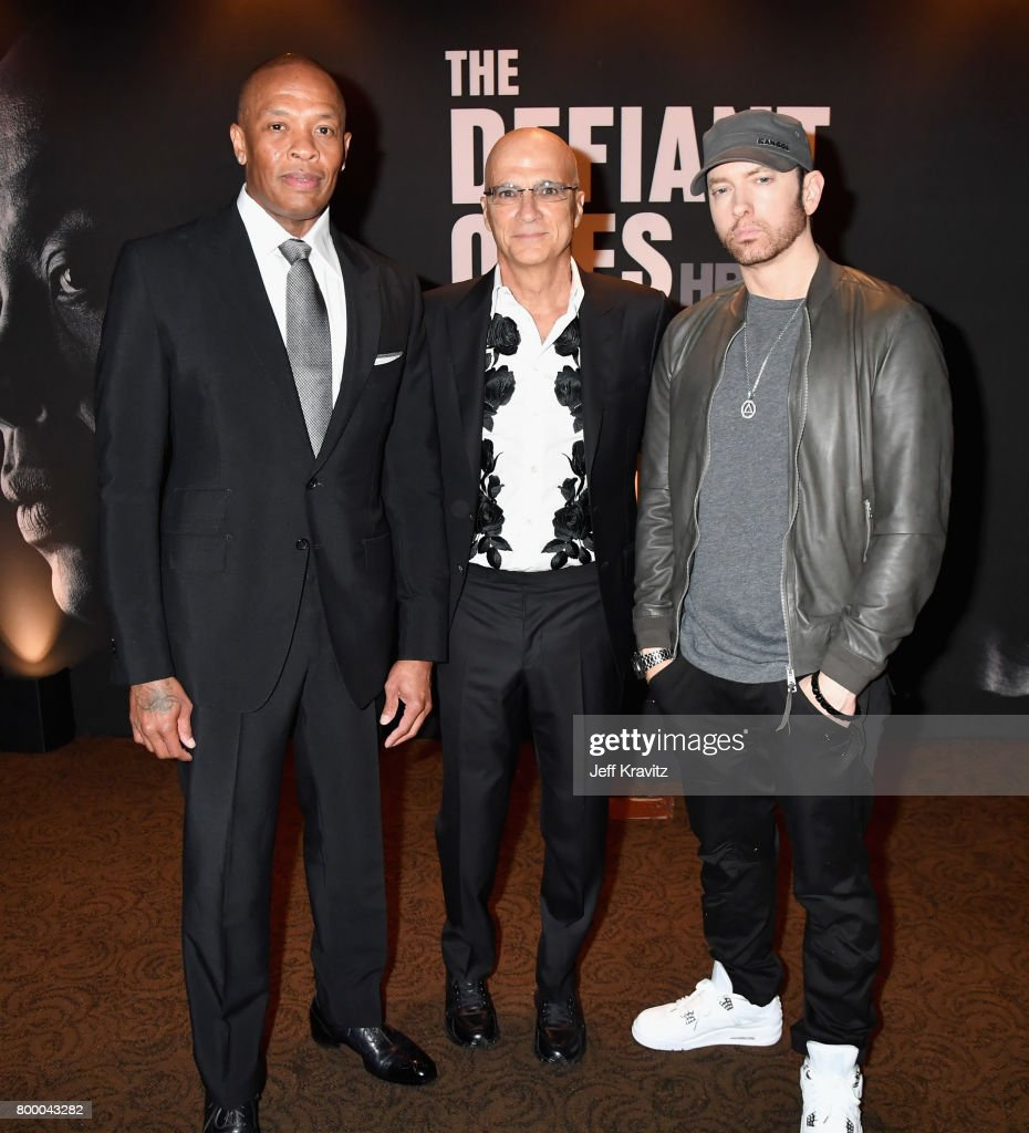 Dr. Dre, Jimmy Iovine and Eminem attend HBO's 'The Defiant Ones' premiere at Paramount Studios on June 22, 2017 in Los Angeles, California.