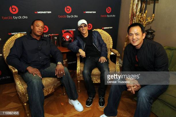 Dr Dre Jimmy Iovine and Kevin Lee attend Monster's Beats By Dr Dre 'Sound Matter's' Listening Session at The Paris Hotel and Casino Resort on January...