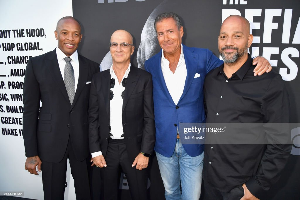 Dr. Dre, Jimmy Iovine, Chairman and CEO of HBO Richard Plepler and Allen Hughes attend HBO's 'The Defiant Ones' premiere at Paramount Studios on June 22, 2017 in Los Angeles, California.