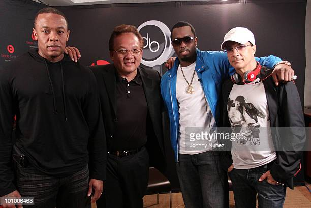 Dr Dre Noel Lee Sean 'Diddy' Combs and Jimmy Iovine attend the launch of Diddybeats at Best Buy on May 26 2010 in New York City
