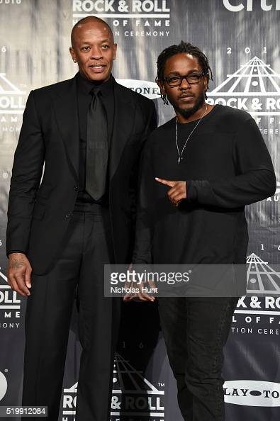 Dr Dre of NWA and Kendrick Lamar attend the 31st Annual Rock And Roll Hall Of Fame Induction Ceremony at Barclays Center on April 8 2016 in New York...