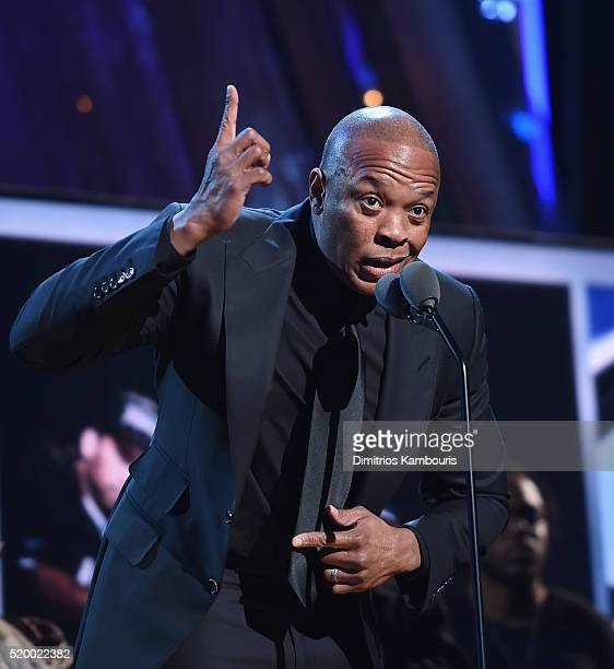 Dr Dre of NWA speaks onstage at the 31st Annual Rock And Roll Hall Of Fame Induction Ceremony at Barclays Center of Brooklyn on April 8 2016 in New...
