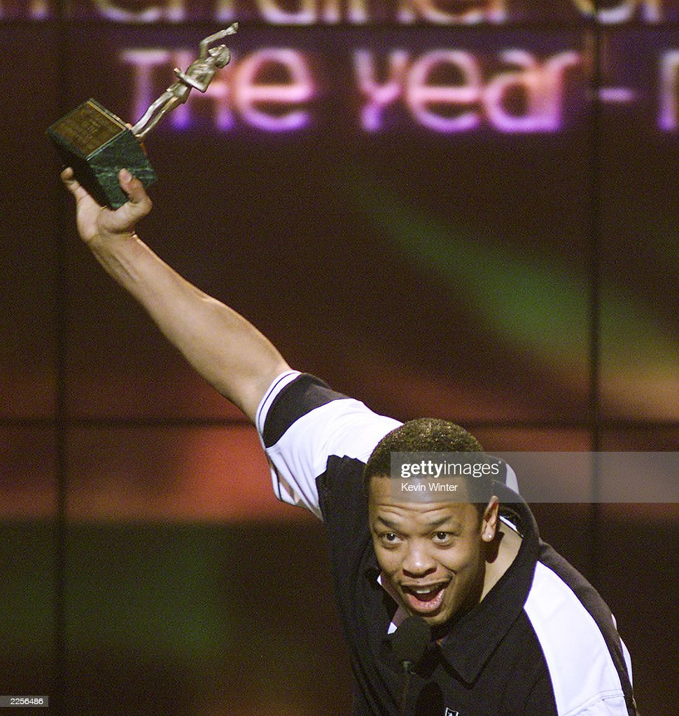 Dr. Dre received the Sammy Davis Jr. award for 'Entertainer of the Year' at the 16th Annual Soul Train Awards at the Sports Arena in Los Angeles, Ca. Wednesday, March 20, 2002. Photo by Kevin Winter/Getty Images.