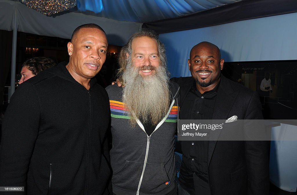 Dr. Dre, Rick Rubin and Steve Stout attend the Universal Music Group Chairman & CEO Lucian Grainge's annual Grammy Awards viewing party on February 10, 2013 in Brentwood, California.