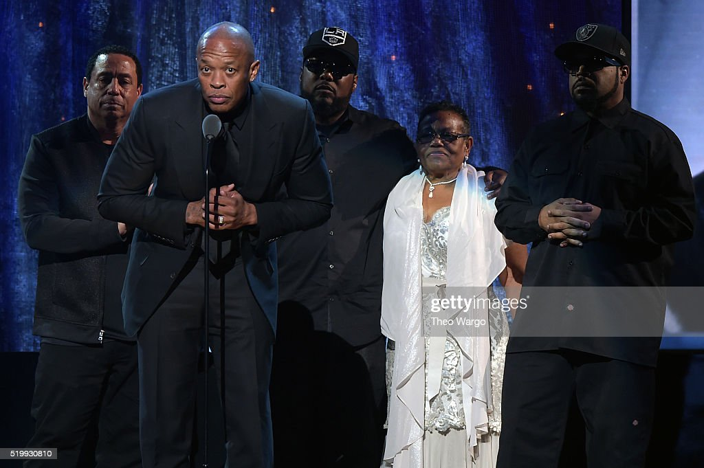 Dr. Dre speaks onstage at the 31st Annual Rock And Roll Hall Of Fame Induction Ceremony at Barclays Center on April 8, 2016 in New York City.
