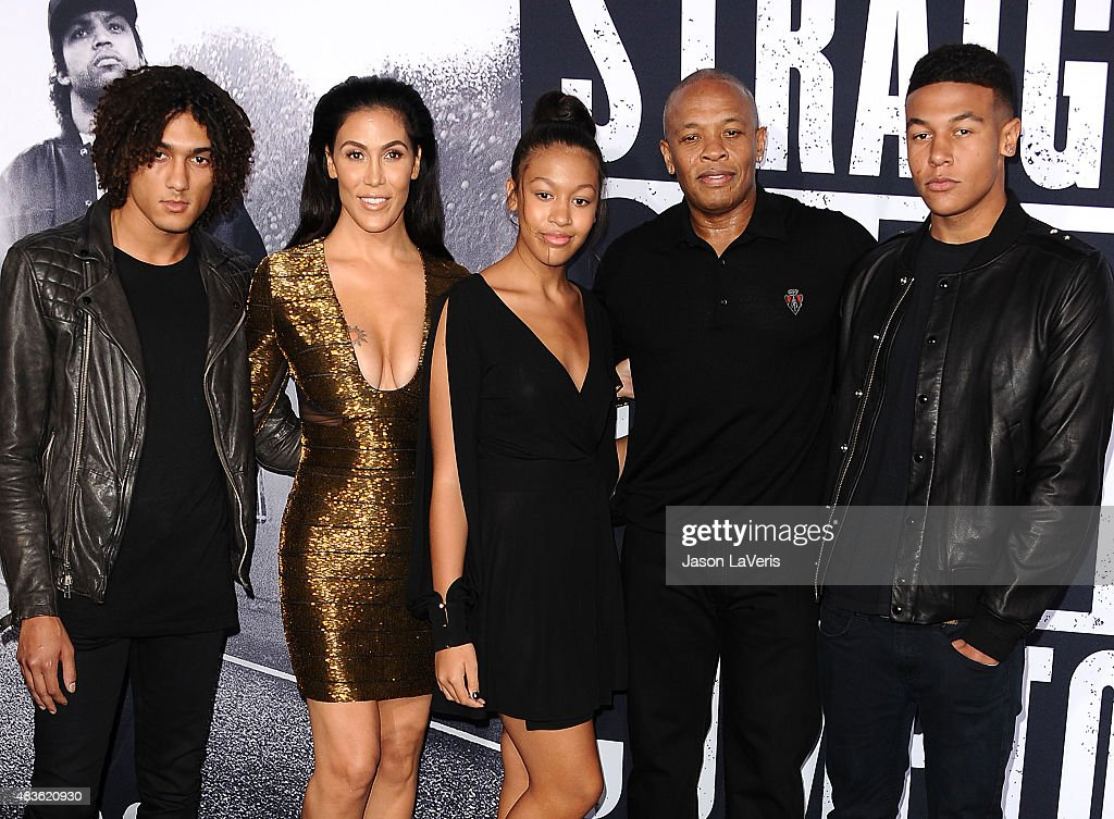 Dr. Dre, wife Nicole Young and family attend the premiere of 'Straight Outta Compton' at Microsoft Theater on August 10, 2015 in Los Angeles, California.