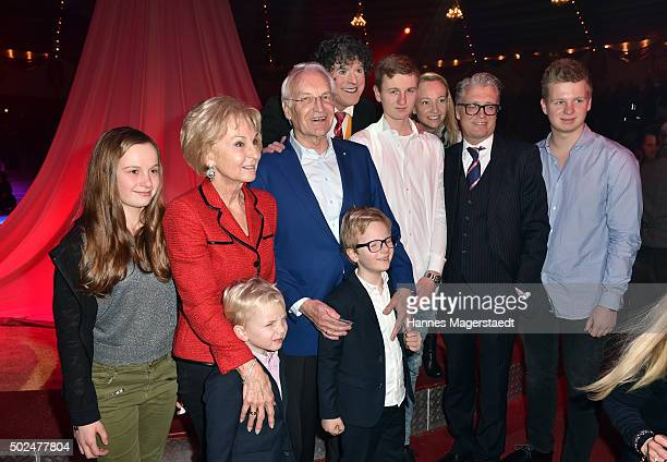 Dr Edmund Stoiber with his wife Kairn Stoiber and family during the 'Circus Krone Christmas Show 2015' at Circus Krone on December 25 2015 in Munich...