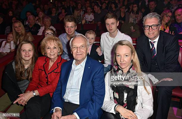Dr Edmund Stoiber with his wife Karin Stoiber and family during the 'Circus Krone Christmas Show 2015' at Circus Krone on December 25 2015 in Munich...