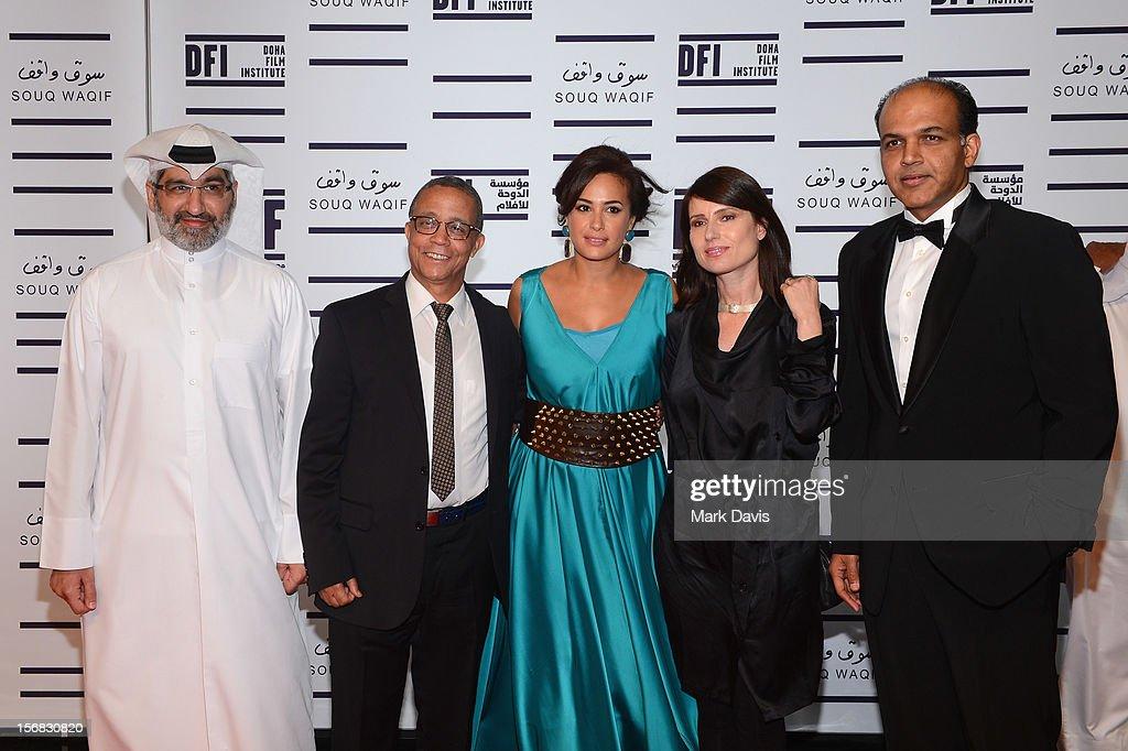 Dr. Emad Amralla Sultan, Yasmina Khadra, Hend Sabry, Yesim Ustaoglu and Ashutosh Gowariker attend the Awards Ceremony at the Al Rayyan Theatre during the 2012 Doha Tribeca Film Festival on November 22, 2012 in Doha, Qatar.