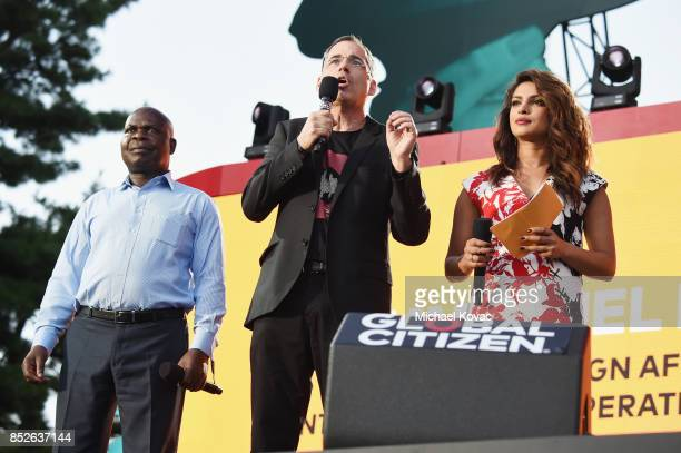 Dr Emmanuel Fabiano Stuart Pann and Priyanka Chopra speakonstage during Global Citizen Festival 2017 at Central Park on September 23 2017 in New York...