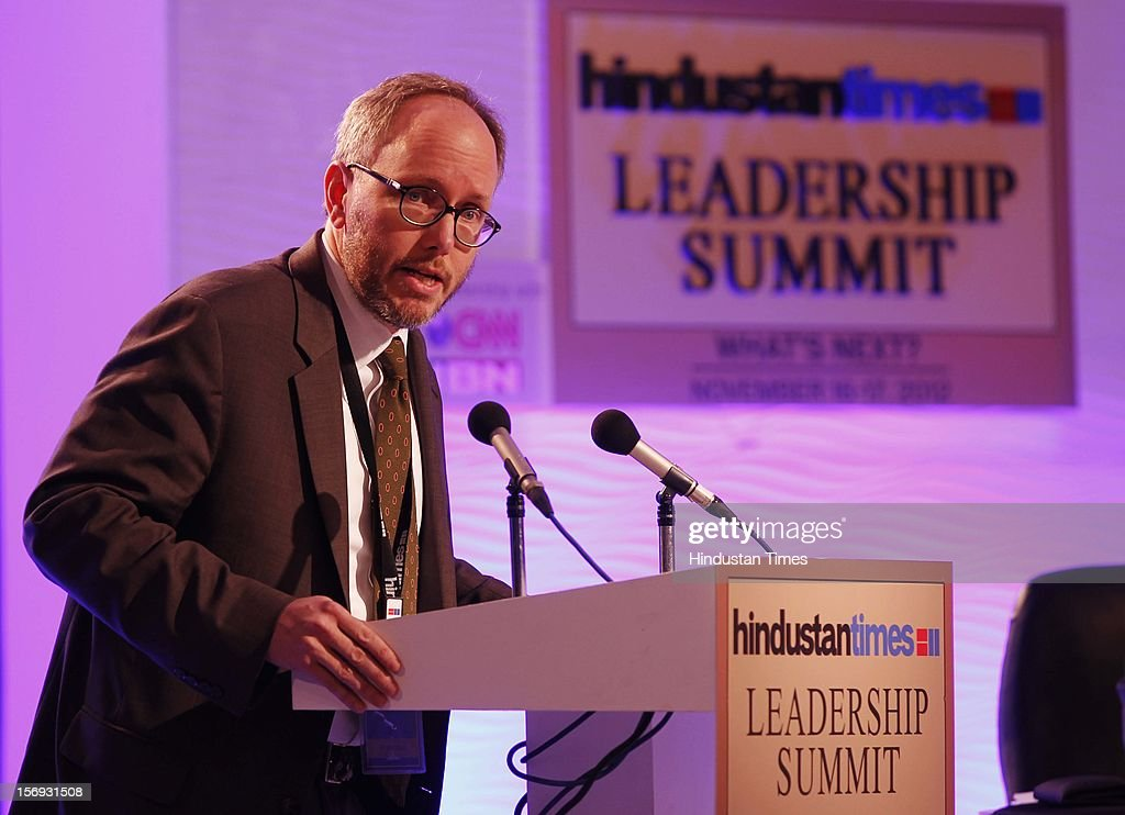 Dr. Erik Jones, Professor and Director Of European Studies, addresses the gathering during the debate : The Future Of The Global Economy: Cause For Optimism Or Pessimisim? on the first day of the Hindustan Times Leadership Summit on November 16, 2012 in New Delhi, India.