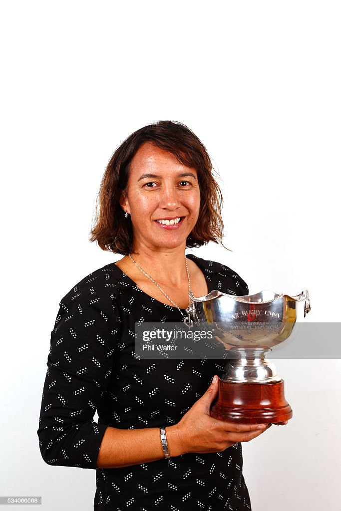 Dr Farah Palmer poses with the Farah Palmer Cup during a portrait session on May 25, 2016 in Auckland, New Zealand.