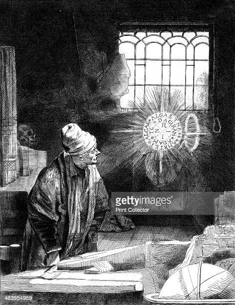 Dr Faustus in his Study Engraving based on the original painting by Rembrandt of the necromancer or astrologer who sells his soul to the devil in...