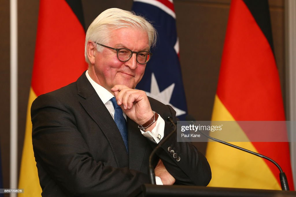 Dr Frank-Walter Steinmeier, President of Germany addresses the media during a joint press conference with Malcolm Turnbull, Prime Minister of Australia at the Crown Towers on November 3, 2017 in Perth, Australia. Dr Frank-Walter Steinmeier is visiting with his wife Elke Budenbender on a three-day visit to Australia.