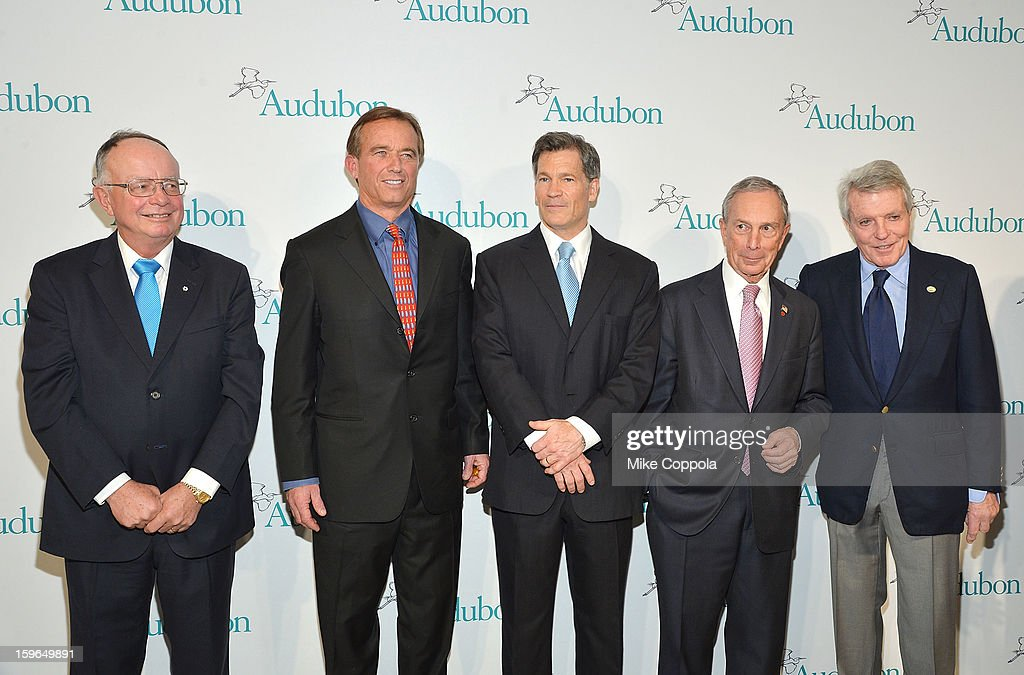 Dr. George Archibald, Robert F. Kennedy; Jr., Louis Bacon, New York City Mayor Michael Bloomberg, and Dan Lufkin attend the 2013 National Audubon Society Gala Dinner on January 17, 2013 in New York, United States.