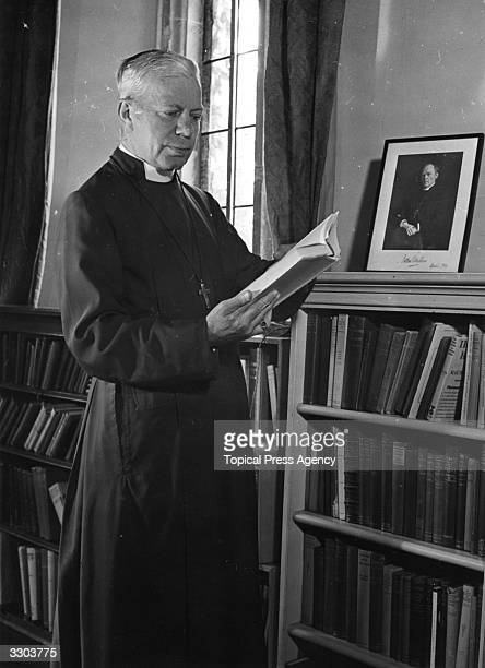 Dr George Kennedy Allen Bell Bishop of Chichester in his study at Chichester Palace