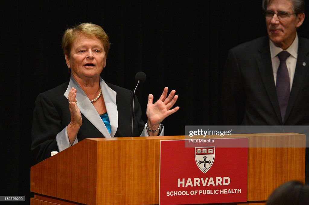 Dr. Gro Harlem Brundtland, Former Prime Minister of Norway and Former Director General of World Health Organization (L), receives the Centennial Award from Harvard School of Public Health Dean of Faculty Julio Frenk on October 24, 2013 in Boston, Massachusetts.