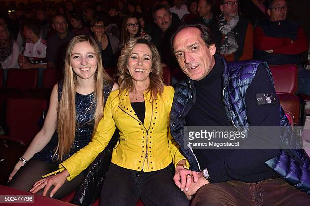 Dr Gundis Zambo with her daughter Greta and Christoph Mahrdt during the 'Circus Krone Christmas Show 2015' at Circus Krone on December 25 2015 in...