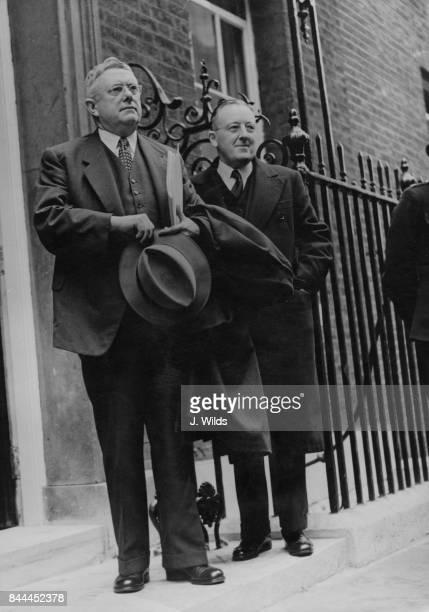 Dr H V Evatt the Australian Deputy Prime Minister and Jack Beasley the Australian High Commissioner in London arrive at 10 Downing Street in London...
