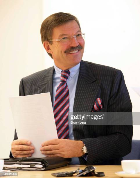 Dr HansJoachim Koerber chief executive officer of Metro AG speaks at a press conference in Duesseldorf Germany Tuesday August 02 2005 Metro AG the...