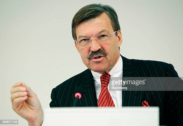 Dr HansJoachim Koerberchief executive officer of Metro AG speaks at a press conference in Duesseldorf Germany Tuesday March 22 2005 Metro AG the...