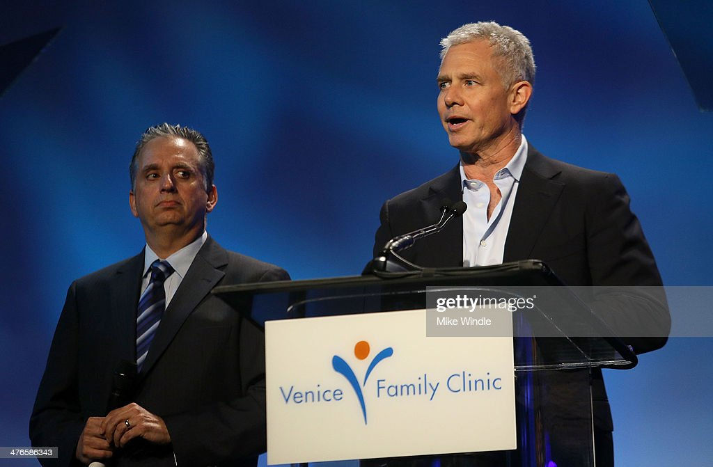 Dr. Harley Liker (L) and Producer Hutch Parker speak onstage at the Venice Family Clinic's 32nd Annual Silver Circle Gala held at The Beverly Hilton Hotel on March 3, 2014 in Beverly Hills, California.