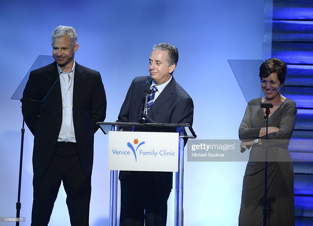Dr. Harley Liker, producer Hutch Parker and Judy Shore speak at the Venice Family Clinic's 32nd Annual Silver Circle Gala at The Beverly Hilton Hotel on March 3, 2014 in Beverly Hills, California.