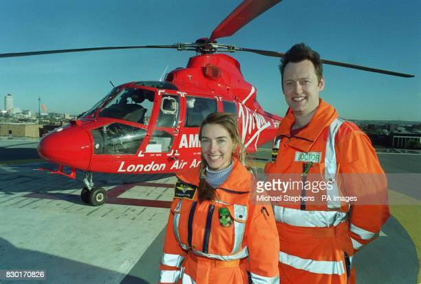 Dr Heather Clark and Dr Alistair Mulcahy of the Helicopter Emergency Medical Service on the roof of the Royal London Hospital Whitechapel The doctors...