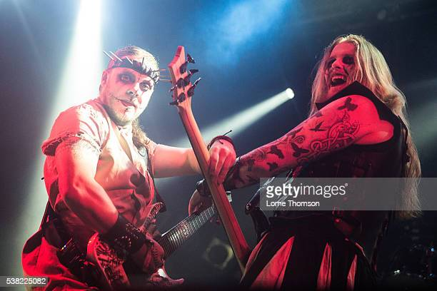Dr Hell and Kraven Morrdeth of Evil Scarecrow performs at the Electric Ballroom on June 4 2016 in London England