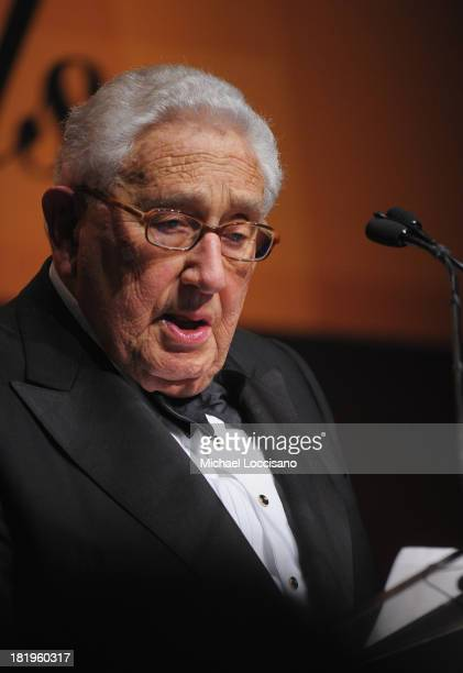 Dr Henry Kissinger addresses the audience during the 2013 Global Citizen Awards Ceremony on September 26 2013 in New York City