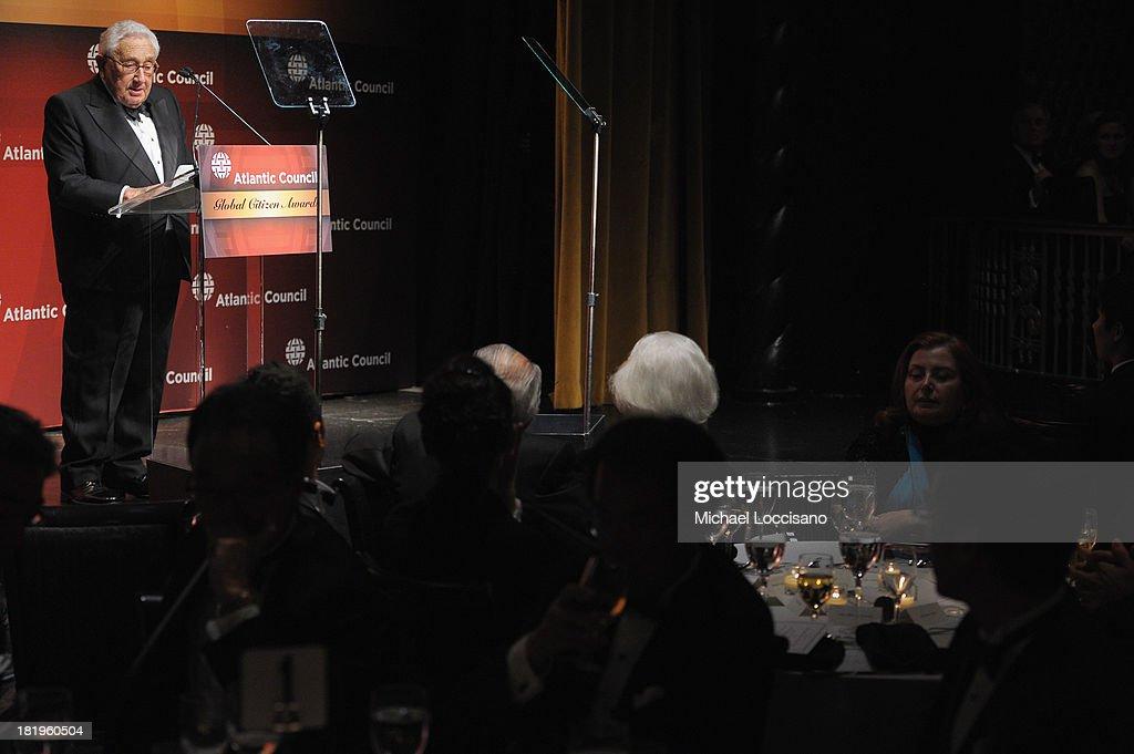 Dr. Henry Kissinger addresses the audience during the 2013 Global Citizen Awards Ceremony on September 26, 2013 in New York City.